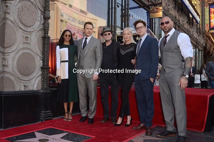 Zoe Saldana, Chris Pratt, Michael Rooker, Pom Klementieff, James Gunn, Dave Bautista