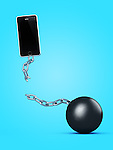 Phone breaking away from ball and chain, breaking a contract, contract-free service, conceptual illustration on bright blue background