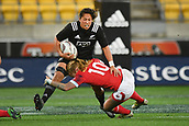 9th June 2017, Westpac Stadium, Wellington, New Zealand; International Womens Rugby; New Zealand versus Canada;  New Zealands Aroha Savage  is tackled by Canada's Emily Belchos
