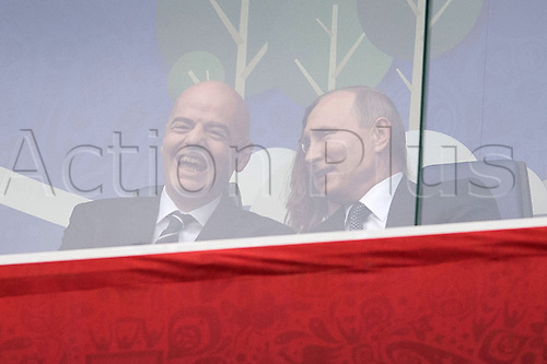 17th June 2017, St Petersburg, Russia; FIFA 2017 Confederations Cup football, Russia versus New Zealand; Group A - Saint Petersburg Stadium,  FIFA president Gianni Infantino and Russian President Vladimir Putin in the stadium before the Confederations Cup Group A soccer match between Russia and New Zealand at the stadium in Saint Petersburg, Russia, 17 June 2017.
