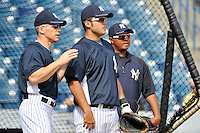Feb 23, 2010; Tampa, FL, USA; New York Yankees catcher Jesus Montero (83) listens to manager Joe Girardi during team workout at George M. Steinbrenner Field. Mandatory Credit: Tomasso De Rosa