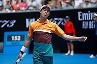 15th January 2019, Melbourne Park, Melbourne, Australia; Australian Open Tennis, day 2; Kei Nishikori of Japan reacts during a match against Kamil Majchrzak of Poland