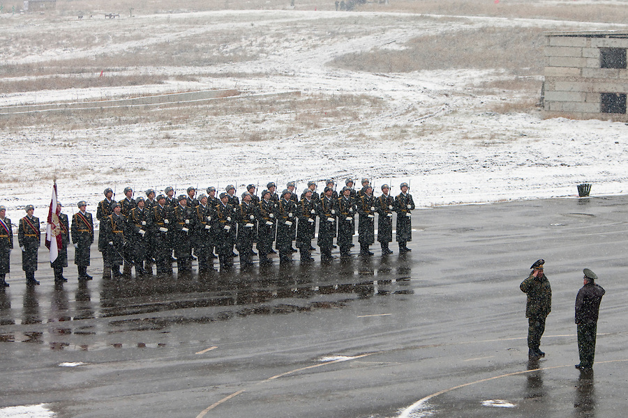 Krasnoarmeysk, Moscow Region, Russia, 29/10/2010..Military parade before a Russian special forces training exercise at a military base outside Moscow. The exercise was part of the Interpolitex 2010 state security exhibition.