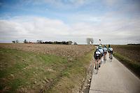 the 4 race leaders reach the top of the Molenberg<br /> <br /> Omloop Het Nieuwsblad 2015