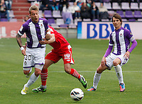 Real Valladolid´s Ebert (l) and Rubio (r) during La Liga match. March 28, 2010. (ALTERPHOTOS/Víctor J Blanco)