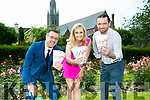 John Drummey, President Tralee Chamber Alliance, Rose of Tralee Elysha Brennan and Mike Moriarty of Il Forno Wood Fired Pizza and Restaurant  launching the Tralee Summer Voucher booklet on Monday afternoon in the Town Park