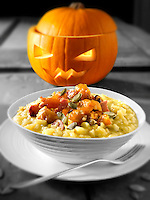 Roast Pumkin & Bacon on safron Risotto