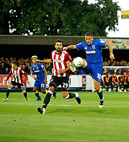 AFC Wimbledon's Cody McDonald controls the ball during the Carabao Cup match between AFC Wimbledon and Brentford at the Cherry Red Records Stadium, Kingston, England on 8 August 2017. Photo by Carlton Myrie.