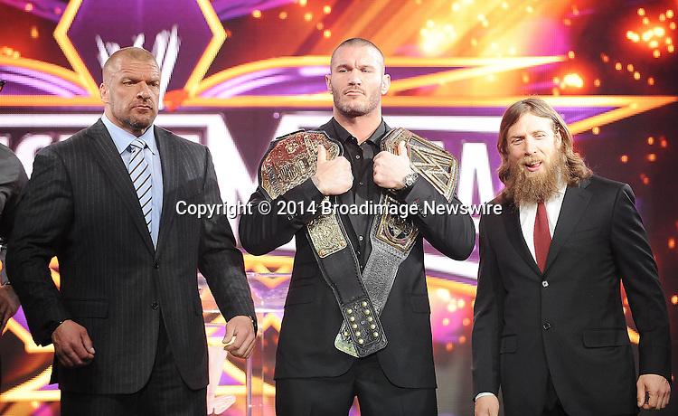 Pictured: Triple H, Randy Orton, Daniel Bryan <br /> Mandatory Credit &copy; Jack Shea/Starshots/Broadimage<br /> WrestleMania 30 Press Conference<br /> <br /> 4/1/14, New York, New York, United States of America<br /> <br /> Broadimage Newswire<br /> Los Angeles 1+  (310) 301-1027<br /> New York      1+  (646) 827-9134<br /> sales@broadimage.com<br /> http://www.broadimage.com
