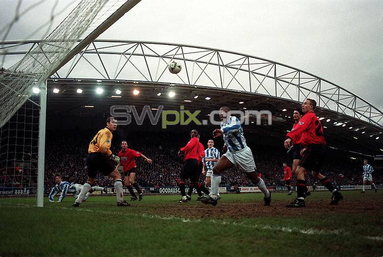 Pix:Michael Steele/SWpix...Soccer. Huddersfield v Wimbledon, McAlpine Stadium, Huddersfield...COPYRIGHT PICTURE>>SIMON WILKINSON..A generic goal picture.
