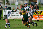 J. Maher prepare to fend T. Ropotini as he tries to break the Manurewa defense. Counties Manukau Premier Club Rugby, Pukekohe v Manurewa  played at the Colin Lawrie field, on the 17th of April 2006. Manurewa won 20 - 18.