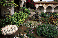 Famous Mission San Juan Capistrano Gardens Home of the returning Swallows birds California US