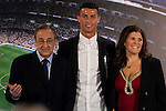 Real Madrid's president Florentino Perez and Cristiano Ronaldo with his mother Maria Dolores dos Santos Aveiro during the renews of Cristiano Ronaldo's contract with Real Madrid until 2021 at Santiago Bernabeu Stadium in Madrid. November , 2016. (ALTERPHOTOS/Borja B.Hojas)