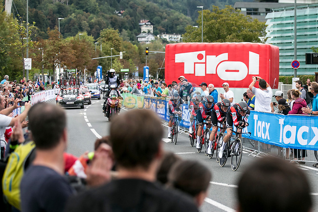 BMC Racing Team in action during the Men's Elite Team Time Trial of the 2018 UCI Road World Championships running 62.8km from Ötztal to Innsbruck, Innsbruck-Tirol, Austria 2018. 23rd September 2018.<br /> Picture: Innsbruck-Tirol 2018 | Cyclefile<br /> <br /> <br /> All photos usage must carry mandatory copyright credit (© Cyclefile | Innsbruck-Tirol 2018)
