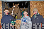 Johnaton O'Connor, Leon O'Connor Faha and Patrick Kelleher Farranfore with Cian O'Connor's horse Splendor at International Showjumper Cian O'Connor display in Faha on Saturday evening