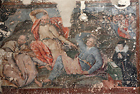 The apostles Peter, James and John, and a kneeling female donor, from the Transfiguration, mural painting, 16th century, on the West wall of the Collegiate Church of Saint-Gervais-Saint-Protais, built 12th to 16th centuries in Gothic and Renaissance styles, in Gisors, Eure, Haute-Normandie, France. The church was consecrated in 1119 by Calixtus II but the nave was rebuilt from 1160 after a fire. The church was listed as a historic monument in 1840. Picture by Manuel Cohen