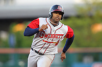 Gwinnett Braves outfielder Stefan Gartrell #32 at bat during a game against the Buffalo Bisons at Coca-Cola Field on May 17, 2012 in Buffalo, New York.  Buffalo defeated Gwinnett 4-2.  (Mike Janes/Four Seam Images)