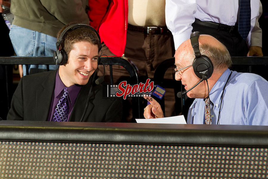 Evan Lepler (left) and Stafford Stephenson call the action on radio for the High Point Panthers men's basketball game against the UNCG Spartans at Millis Athletic Center on November 9, 2012 in High Point, North Carolina.  The Panthers defeated the Spartans 81-73.   (Brian Westerholt/Sports On Film)