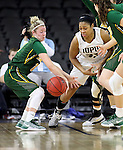 SIOUX FALLS, SD: MARCH 4: Taylor Thunstedt #11 of North Dakota State tries to reel in a loose ball as Mikale Rogers #33 of IUPUI comes up empty handed on March 4, 2017 during the Summit League Basketball Championship at the Denny Sanford Premier Center in Sioux Falls, SD. (Photo by Dick Carlson/Inertia)