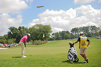 Charl Schwartzel (RSA) chips on to 1 as the Goodyear blimp flies overhead during Saturday's round 3 of the PGA Championship at the Quail Hollow Club in Charlotte, North Carolina. 8/12/2017.<br /> Picture: Golffile | Ken Murray<br /> <br /> <br /> All photo usage must carry mandatory copyright credit (&copy; Golffile | Ken Murray)