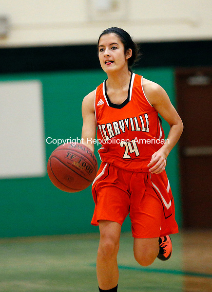 Waterbury, CT- 28 December 2015-122815CM04- action man----  Terryville's Joanna Johnson takes the ball up court during their non-league basketball matchup against Wilby in Waterbury on Monday.       Christopher Massa Republican-American