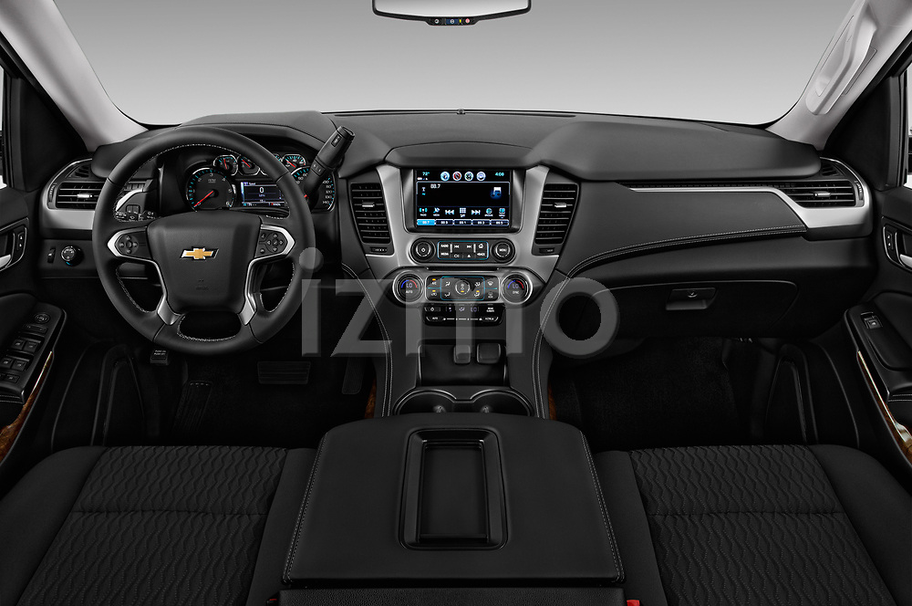 Stock photo of straight dashboard view of 2016 Chevrolet Suburban 1500 LS 5 Door SUV