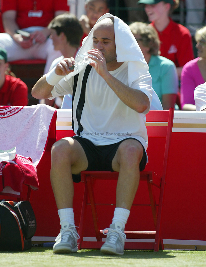 Photograph: Scott Heavey..Day 5 of the Stella Artois Championship at the Queens Club. 13/06/2003..Andre Agassi