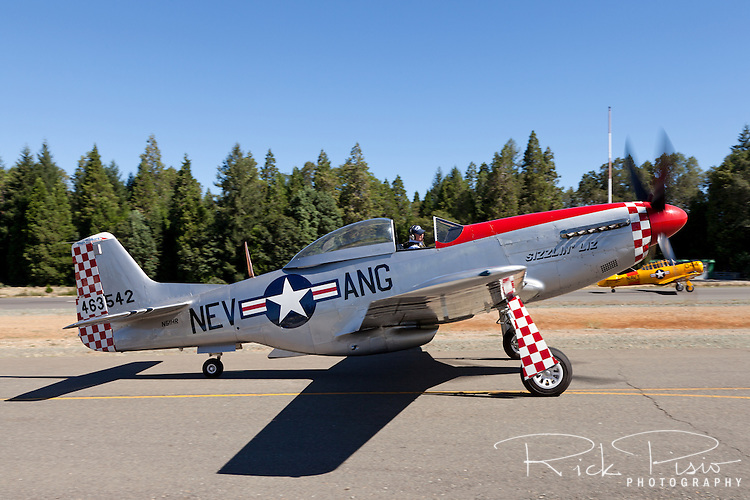 Ted Contri's P-51D Mustang Sizzlin Liz is taxied prior to take off at the Nevada County Airport.