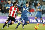 Getafe's Victor Rodriguez (r) and Athletic de Bilbao's Benat Etxebarria during La Liga match. January 30,2016. (ALTERPHOTOS/Acero)
