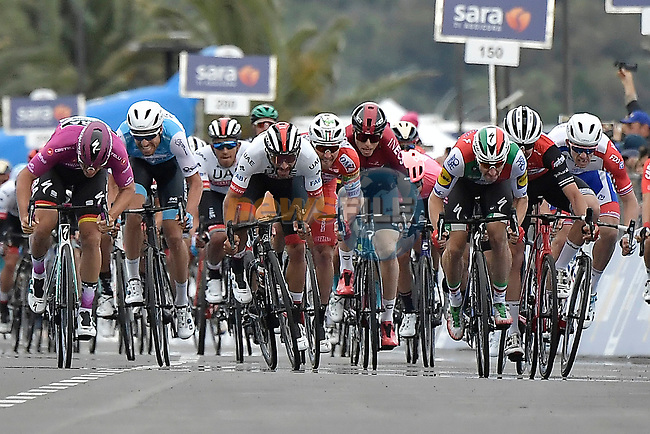 Italian Champion Elia Viviani (ITA) Deceuninck-Quick Step wins Stage 3 but is later relegated by the UCI for irregular sprinting awarding the stage win to Fernando Gaviria (COL) UAE Team Emirates, of the 2019 Giro d'Italia, running 220km from Vinci to Orbetello, Italy. 13th May 2019<br /> Picture: Fabio Ferrari/LaPresse | Cyclefile<br /> <br /> All photos usage must carry mandatory copyright credit (© Cyclefile | Fabio Ferrari/LaPresse)