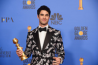 After winning the category of BEST PERFORMANCE BY AN ACTOR IN A LIMITED SERIES OR A MOTION PICTURE MADE FOR TELEVISION for his role in &quot;The Assassination of Gianni Versace: American Crime Story,&quot; actor Darren Criss poses backstage in the press room with his Golden Globe Award at the 76th Annual Golden Globe Awards at the Beverly Hilton in Beverly Hills, CA on Sunday, January 6, 2019.<br /> *Editorial Use Only*<br /> CAP/PLF/HFPA<br /> Image supplied by Capital Pictures
