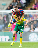 Crystal Palace Gary Cahill and Norwich City Marco Stiepermann during the Premier League match between Crystal Palace and Norwich City at Selhurst Park, London, England on 28 September 2019. Photo by Andrew Aleksiejczuk / PRiME Media Images.