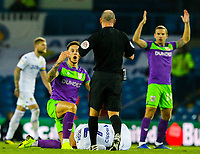 Referee Scott Duncan prepares to show Bristol City's Josh Brownhill a second yellow card<br /> <br /> Photographer Alex Dodd/CameraSport<br /> <br /> The EFL Sky Bet Championship - Leeds United v Bristol City - Saturday 24th November 2018 - Elland Road - Leeds<br /> <br /> World Copyright &copy; 2018 CameraSport. All rights reserved. 43 Linden Ave. Countesthorpe. Leicester. England. LE8 5PG - Tel: +44 (0) 116 277 4147 - admin@camerasport.com - www.camerasport.com