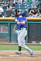 Josh Wilson (2) of the Round Rock Express at bat against the Salt Lake Bees in Pacific Coast League action at Smith's Ballpark on August 21, 2014 in Salt Lake City, Utah.  (Stephen Smith/Four Seam Images)