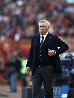 Football, Serie A: AS Roma - SSC Napoli, Olympic stadium, Rome, March 31, 2019. <br /> Napoli's coach Carlo Ancelotti looks on during the Italian Serie A football match between Roma and Napoli at Olympic stadium in Rome, on March 31, 2019.<br /> UPDATE IMAGES PRESS/Isabella Bonotto