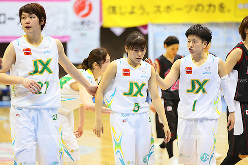 (L-R) Yuka Mamiya (Sunflowers), Sayaka Okamoto (Sunflowers), Yuko Oga (Sunflowers), MARCH 19, 2013 - Basketball : The 14th Women's Japan Basketball League Playoffs Final Game #4 between Toyota Antelopes 61-72 JX Sunflowers at 2nd Yoyogi Gymnasium, Tokyo, Japan. (Photo by AFLO SPORT) [1156]