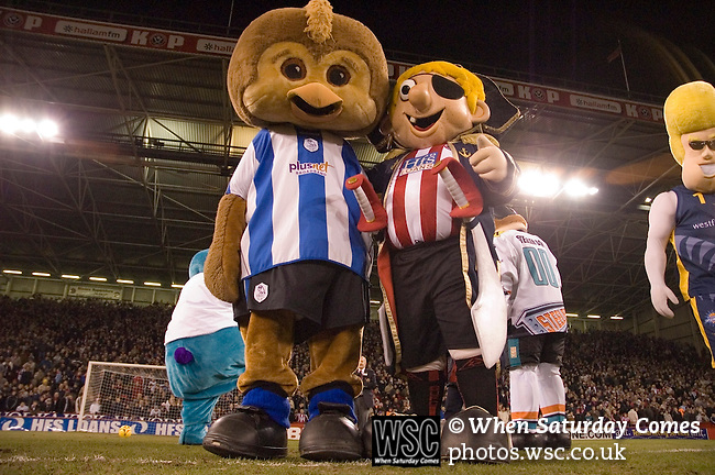 Sheffield United 1 Reading 1, 14/02/2006. Bramall Lane, Championship. The Sheffield Wednesday mascot joins in the half time penalty shoot out. Photo by Paul Thompson.