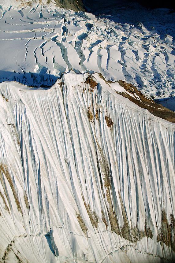 Mountains, snow, cevases and ice around Mount Blackburn (16,390 feet) in Wrangell Saint Elias National Park and Preserve, Alaska