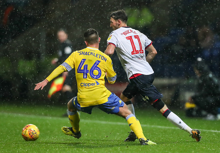 Bolton Wanderers' Will Buckley competing with Leeds United's Jamie Shackleton<br /> <br /> Photographer Andrew Kearns/CameraSport<br /> <br /> The EFL Sky Bet Championship - Bolton Wanderers v Leeds United - Saturday 15th December 2018 - University of Bolton Stadium - Bolton<br /> <br /> World Copyright © 2018 CameraSport. All rights reserved. 43 Linden Ave. Countesthorpe. Leicester. England. LE8 5PG - Tel: +44 (0) 116 277 4147 - admin@camerasport.com - www.camerasport.com