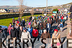 The crowd from Corca Dhuibhne peninsula protesting the objection by An Taisce to upgrade the N86 road in Dingle on Saturday noon.