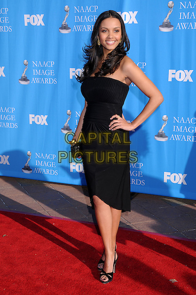 JESSICA LUCAS.39th Annual NAACP Image Awards - Arrivals at the Shrine Auditorium, Los Angeles, California, USA..February 14th, 2008.full length black dress hand on hip .CAP/ADM/BP.©Byron Purvis/AdMedia/Capital Pictures