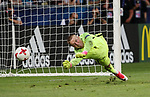 England's Jordan Pickfrod tries in vain to save a penalty during the UEFA Under 21 Semi Final at the Stadion Miejski Tychy in Tychy. Picture date 27th June 2017. Picture credit should read: David Klein/Sportimage