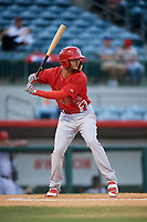 Palm Beach Cardinals designated hitter Ryan McCarvel (23) at bat during a game against the Florida Fire Frogs on May 1, 2018 at Osceola County Stadium in Kissimmee, Florida.  Florida defeated Palm Beach 3-2.  (Mike Janes/Four Seam Images)