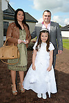 09/05/2015 - Mornington Communion – Natalie Farrell with her parents Glen and Taylor. Picture: www.newsfile.ie