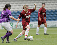 09 MAY 2007 - LONDON, UK - Jennifer Anslow - Loughborough University (Maroon) v Brighton University (Purple) - BUSA Womens Football Championships. (PHOTO (C) NIGEL FARROW).