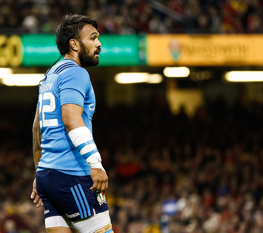 Italy's Kelly Haimona<br /> <br /> Photographer Simon King/CameraSport<br /> <br /> International Rugby Union - RBS 6 Nations Championships 2016 - Wales v Italy - Saturday 19th March 2016 - Principality Stadium, Cardiff <br /> <br /> &copy; CameraSport - 43 Linden Ave. Countesthorpe. Leicester. England. LE8 5PG - Tel: +44 (0) 116 277 4147 - admin@camerasport.com - www.camerasport.com