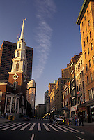 AJ4445, Boston, Massachusetts, Park Street Church and buildings along a street in downtown Boston in the state of Massachusetts.