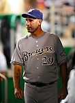 22 August 2009: Milwaukee Brewers' Batting Coach Dale Sveum watches from the dugout during a game against the Washington Nationals at Nationals Park in Washington, DC. The Brewers defeated the Nationals 11-9 in the second game of their four-game series. Mandatory Credit: Ed Wolfstein Photo