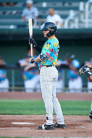 Idaho Falls Chukars Brady McConnell (15) at bat during a Pioneer League game against the Missoula Osprey at Melaleuca Field on August 20, 2019 in Idaho Falls, Idaho. Idaho Falls defeated Missoula 6-3. (Zachary Lucy/Four Seam Images)