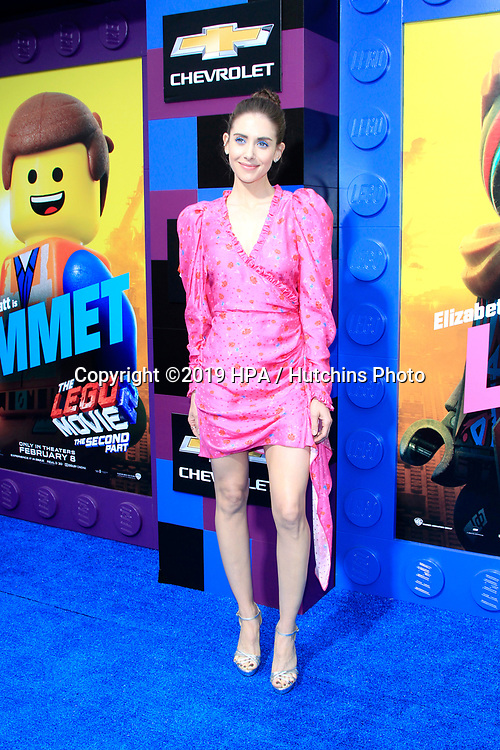 "LOS ANGELES - FEB 2:  Alison Brie at ""The Lego Movie 2: The Second Part"" Premiere at the Village Theater on February 2, 2019 in Westwood, CA"